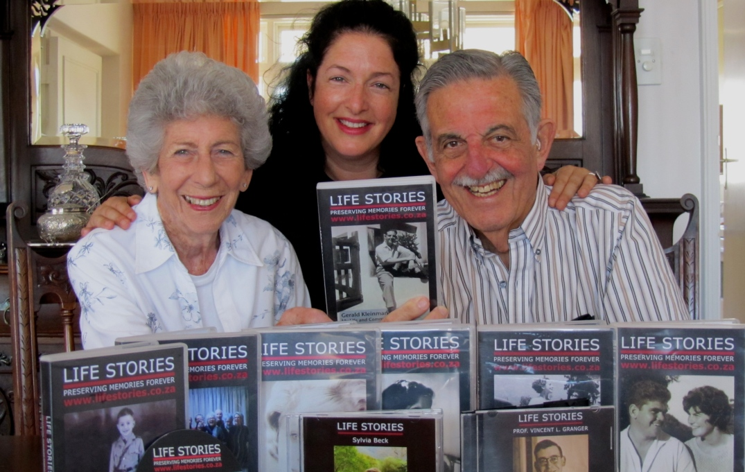 Lisa with Gerald and Rene Kleinman having completed Gerald's Life Story.JPG